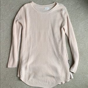 Caslon cream knit sweater with zipper accents